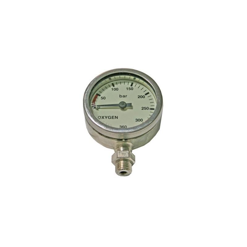 SPG52 mm 0-360 Bar, Oxygene, Chrome, Tempered Glass