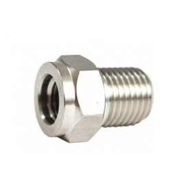 SS Adapter 3/8-24 Female to 1/4 Male NPT""
