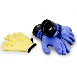 "Zip Dry Gloves ""Heavy-Duty"" with Wrist Dam (Blue) & Liners"