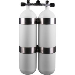 Twinset Steel Cylinders 12 litre long, 230 bar, DIR Style - stainless steel tank bands and rubber knobs