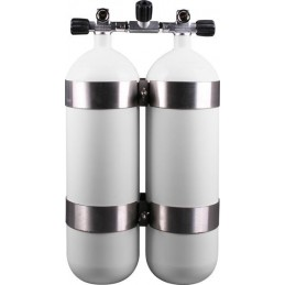 Twinset Steel Cylinders 10 litre, 230 bar, DIR Style - stainless steel tank bands and rubber knobs