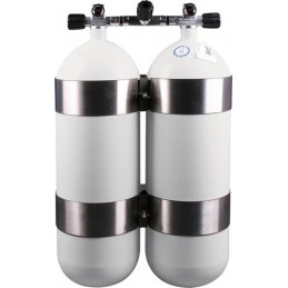 Twinset Steel Cylinders 15 litre, 230 bar, DIR Style - stainless steel tank bands and rubber knobs