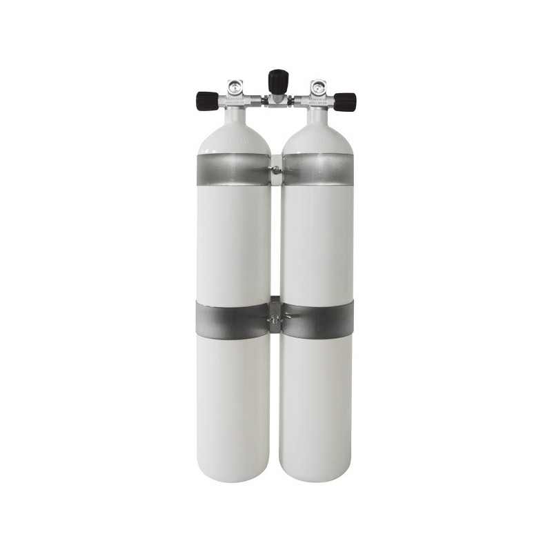 Twinset Steel Cylinders 12 litre CONCAVE, long, 230 bar, DIR Style - stainless steel tank bands and rubber knobs