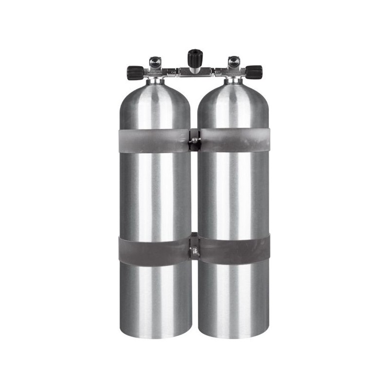 Twinset AL Cylinders , 80cf silver (Dirty Beast) (~11,1 litre), 207 bar, DIR Style - stainless steel tank bands and rubber knobs