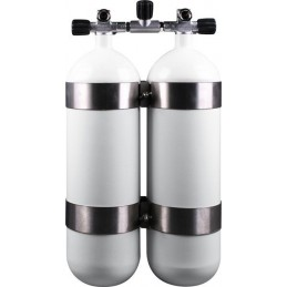 Twinset Steel Cylinders 10 litre, 300 bar, DIR Style - stainless steel tank bands and rubber knobs