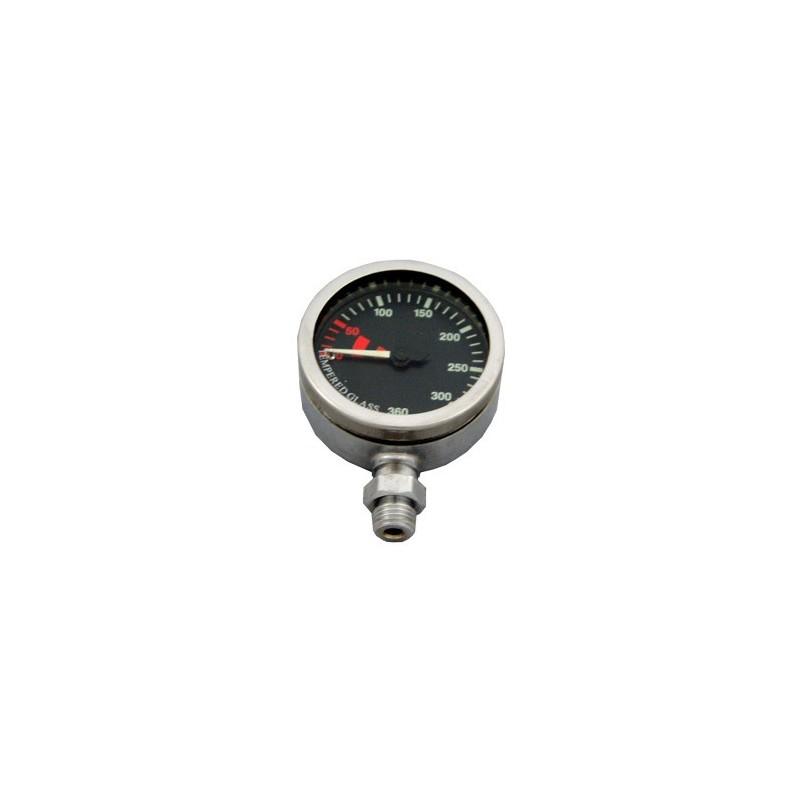 SPG52 mm 0-360 Bar, Chrome, Tempered Glass BLACK Dial