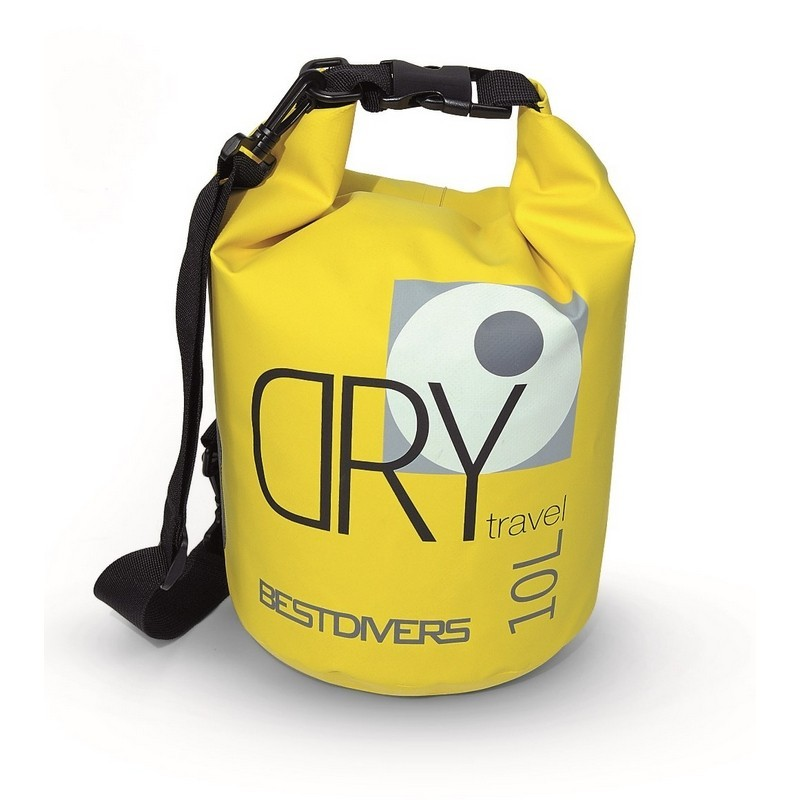 BEST DIVERS SACCO STAGNO 10 LT GIALLO CON TRACOLLA DRY BAG YELLOW WITH SHOULDER STRAP